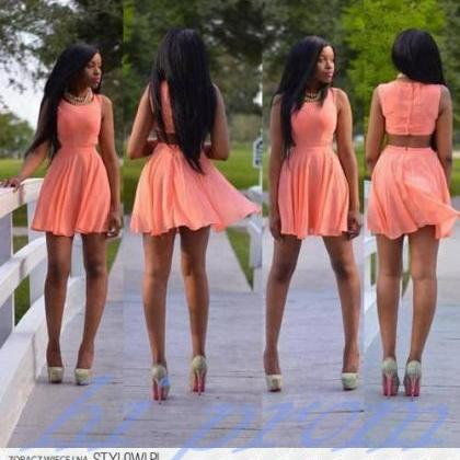 Coral Homecoming Dress,Chiffon Home..