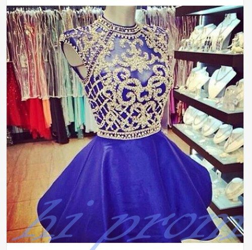 Royal Blue Homecoming Dress,Sparkle Homecoming Dresses,Beautiful Homecoming Gowns,Fashion Prom Gowns,Beading Sweet 16 Dress,Hign Neckline Homecoming Dresses,Taffeta Cocktail Dress,Parties Gowns PD20191453