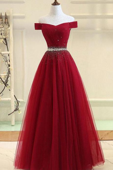 BURGUNDY TULLE OFF SHOULDER LONG PROM DRESS, BURGUNDY EVENING DRESS PD20201181
