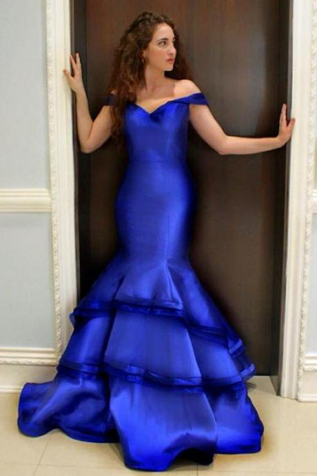 Prom Gown,Royal blue Prom Dresses,Off The Shoulder Evening Gowns,Mermaid Formal Dresses,Royal blue Prom Dresses PD20198720