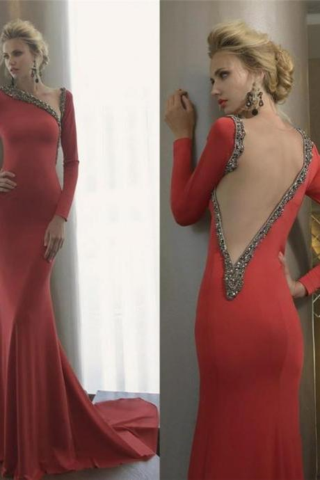 Red Prom Dresses,Prom Dress,Sexy Prom Dress,Long Sleeves Prom Dresses,Charming Formal Gown,Backless Evening Gowns,Open Back Party Dress,Sexy Prom Gown For Teens PD20199148