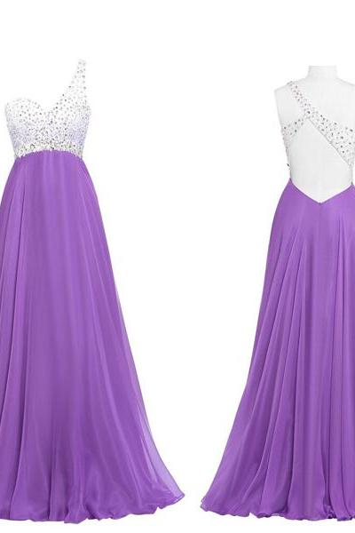 Prom Gown,Lilac Prom Dresses,One Shoulder Evening Gowns,Simple Formal Dresses,One Shoulder Prom Dresses 2019 PD20199335
