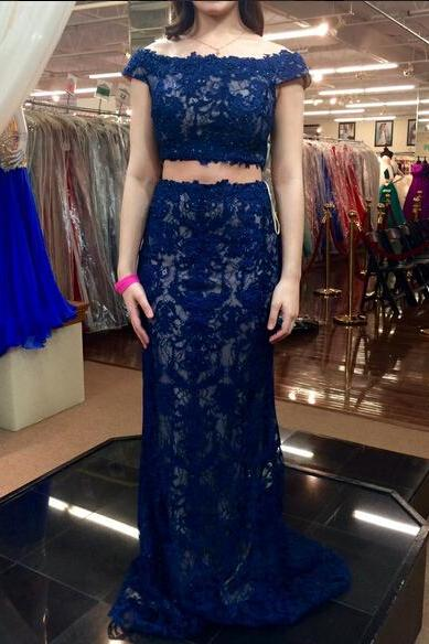 2 Piece Prom Gown,Two Piece Prom Dresses,Lace Evening Gowns,2 Pieces Party Dresses,Royal Blue Evening Gowns,Formal Dress,Evening Gowns For Teens PD20199495