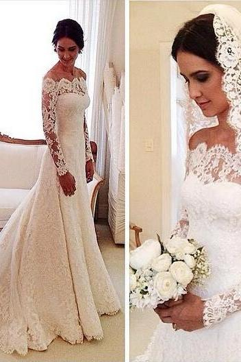 White Wedding Dresses,Long Sleeves Wedding Gown,Lace Wedding Gowns,Mermaid Bridal Dress,Princess Wedding Dress,Beautiful Brides Dress PD20191371