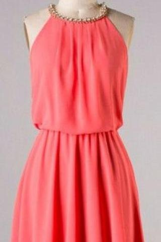 Coral Homecoming Dress,Homecoming Dresses with Rhinestone,Cute Homecoming Dress,Blue Homecoming Dress,Short Prom Dress,A Line Homecoming Gowns,Chiffon Sweet 16 Dress,Evening Gown,Parties Casual Dress PD20191437