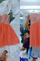 Coral Homecoming Dress,Beading Homecoming Dress,Cute Homecoming Dress,Chiffon Homecoming Dress,Short Prom Dress,A Line Homecoming Gowns,Sweet 16 Dress,Evening Gown PD20191439