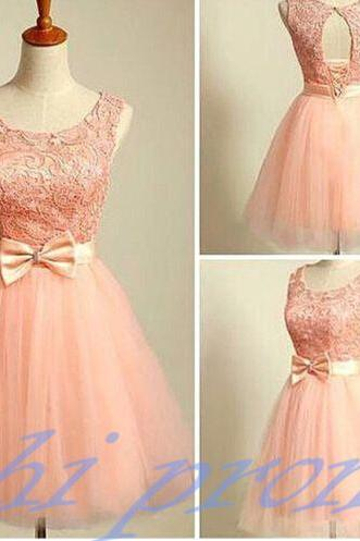 Blush Pink Homecoming Dress,Short Tulle Prom Dresses,2019 Homecoming Gowns With Bow,Homecoming Dresses 2019,Winter Formal Dresses,Lace Graduation Dresses,Sweet 16 Gown PD20191442