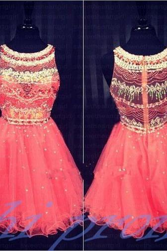Coral Homecoming Dress,Sparkle Homecoming Dresses,2019 Style Homecoming Gowns,Coral Pink Prom Gowns,A Line Sweet 16 Dress,Classy Homecoming Dresses,Tulle Cocktail Dress,Evening Gowns PD20191454