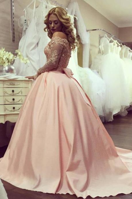Ball Gown Long Sleeves Evening Gown Bowknot Gold-Lace Off-the-Shoulder Prom Dresses PD20191830