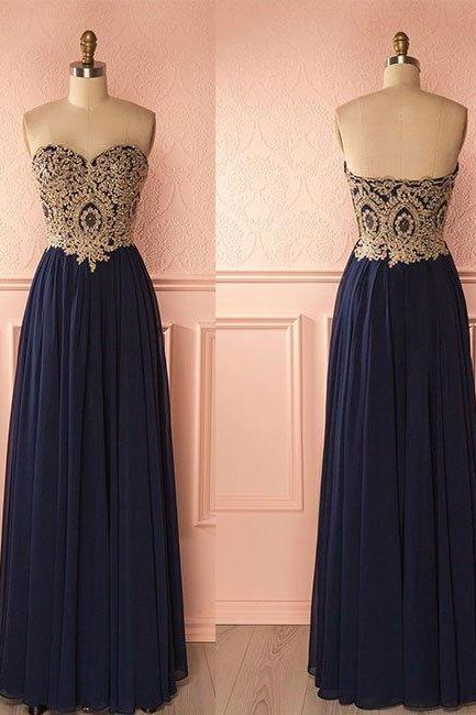 Lace Prom Dress, Navy Blue Long Prom Dress, Strapless Prom Gowns, Custom Made Prom Dress, Long Formal Evening Dress, Woman Formal Dresses PD20192792