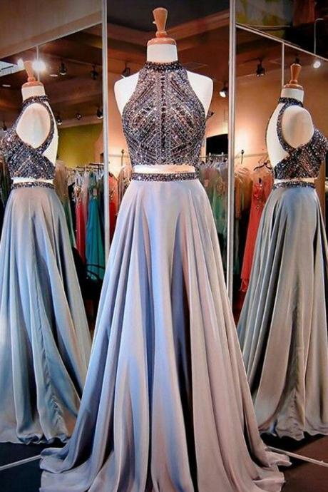 New Arrival Prom Dress,Glamorous Two Piece High Neck Open Back Long Prom Dress with Beading PD20193121