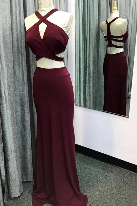 two piece prom dress,mermaid prom dress,burgundy prom dress,mermaid evening gowns,long party dresses PD20195047