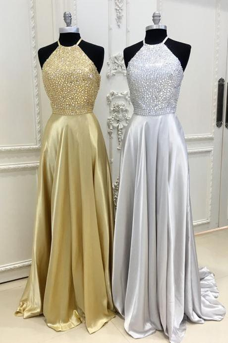 gold ball gowns,halter prom dress,ball gowns prom dress,elegant prom dress,prom dresses PD20195075