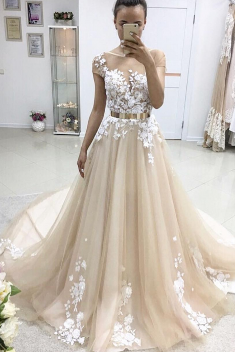 Elegant A-Line Scoop Short Sleeves Tulle Long Prom/Evening Dress With Appliques PD20195095