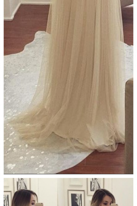 A-line Sleeveless Spaghetti-Strap Chiffon Newest Beads Prom Dress PD20195196