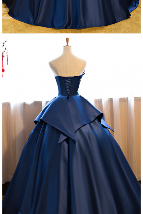 Royal Blue Floor Length Prom Dress Satin Wedding Gown Featuring Floral Embroidered Strapless Prom Dresses PD20195233