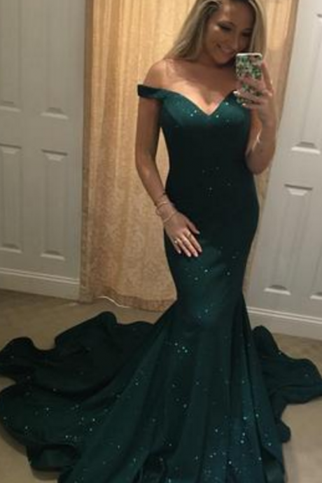 Charming Mermaid Prom Dresses Off Shoulder Sexy Mermaid Evening Dresses PD20195299